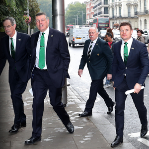 Dream team: Ireland's presentation panel arrive at the Royal Garden hotel in London yesterday. Photo: Billy Stickland/INPHO
