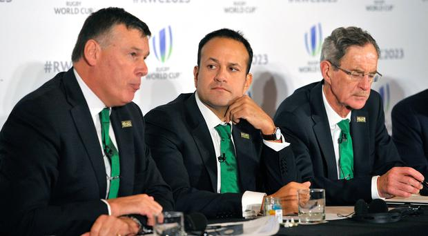 Proposal: IRFU Chief Philip Browne, Taoiseach Leo Varadkar and Ireland 2023 Oversight Board chairman Dick Spring. Photo: Nick Ansell/PA