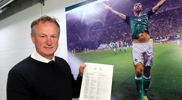 Paperwork: Michael O'Neill has named two new faces in the panel for next month's qualifying fixtures with Germany and Norway. Photo: William Cherry/Presseye