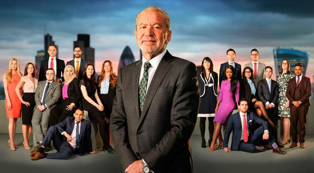 Lord Sugar with the candidates in this year's BBC1 programme, The Apprentice (Jim Marks/BBC/PA Wire)