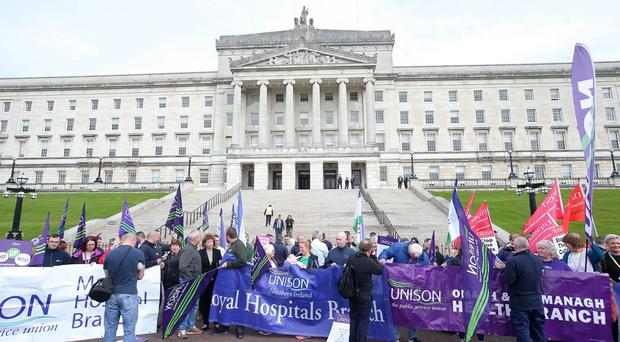 Nipsa - Northern Ireland Public Service Alliance - demonstration against £70m health cuts at Parliament Buildings, Stormont in east Belfast. Picture by Jonathan Porter/PressEye.com Press Eye Belfast - Northern Ireland 26h September 2017