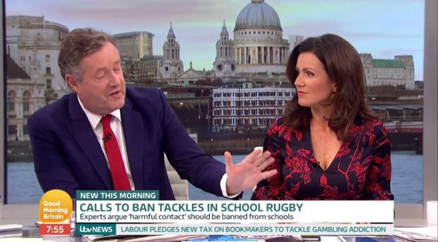 Piers Morgan said a ban on tackling would