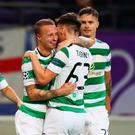 On the road: Leigh Griffiths takes the acclaim after setting Celtic on their way. Photo: Dean Mouhtaropoulos/Getty Images