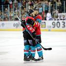 Brendan Connolly levelled for the Belfast Giants but a late goal sealed victory for Nottingham Panthers.