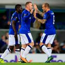 Everton's Wayne Rooney celebrates scoring his side's first goal of the game during the UEFA Europa League, Group E match at Goodison Park, Liverpool. Peter Byrne/PA Wire