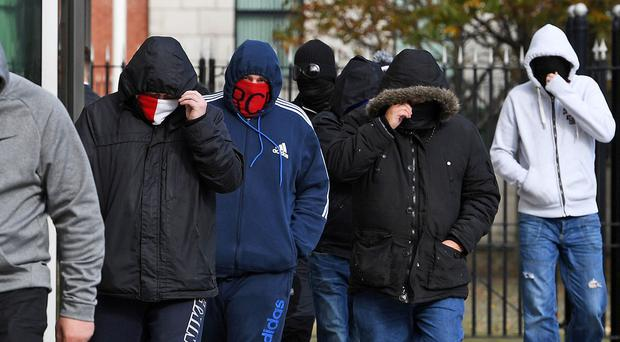 Loyalist supporters leaving Belfast Laganside court house after a man was charged over the murder of Geordie Gilmore. Sept 29, 2017