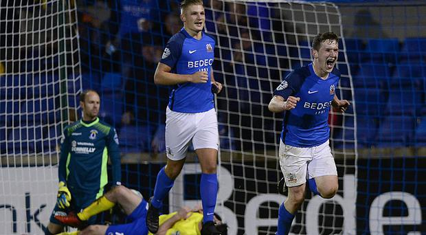 Glenavon's Bobby Burns pictured after scoring his team's first goal at Mournview Park. Arthur Allison/Pacemaker Press