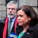 Power play: Sinn Fein president Gerry Adams and deputy leader Mary Lou McDonald
