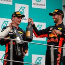 Bubby characters: race winner Max Verstappen on the podium with second placed Lewis Hamilton and Daniel Ricciardo, third