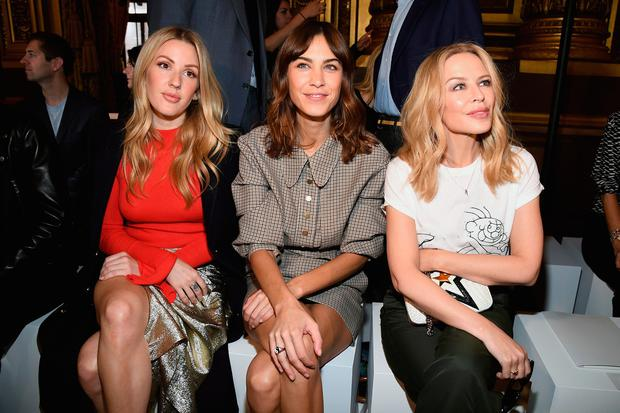 PARIS, FRANCE - OCTOBER 02: Ellie Goulding, Alexa Chung and Kylie Minogue attend the Stella McCartney show as part of the Paris Fashion Week Womenswear Spring/Summer 2018 on October 2, 2017 in Paris, France. (Photo by Pascal Le Segretain/Getty Images)