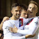 Goal-den moment: Andy Waterworth celebrates his goal for Linfield last night