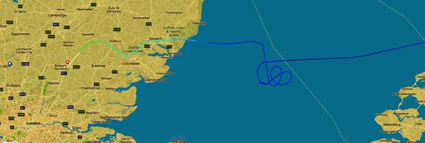 The track on FlightRadar24 of Ryanair flight FR2145, flying from Lithuania to Luton, which has been escorted into Stansted Airport by RAF jets. PRESS ASSOCIATION Photo. Picture date: Wednesday October 4, 2017. See PA story POLICE Stansted. Pic: FlightRadar24/PA Wire