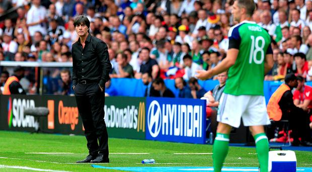 Germany manager Joachim Low (left) knows all about the Northern Ireland support after the clash at Euro 2016 but he's excited to see the GAWA in full swing at Windsor Park.