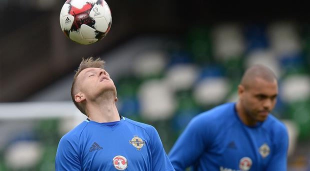 Using his head: Steven Davis trains yesterday ahead of what he believes could be one of the greatest nights of his international career