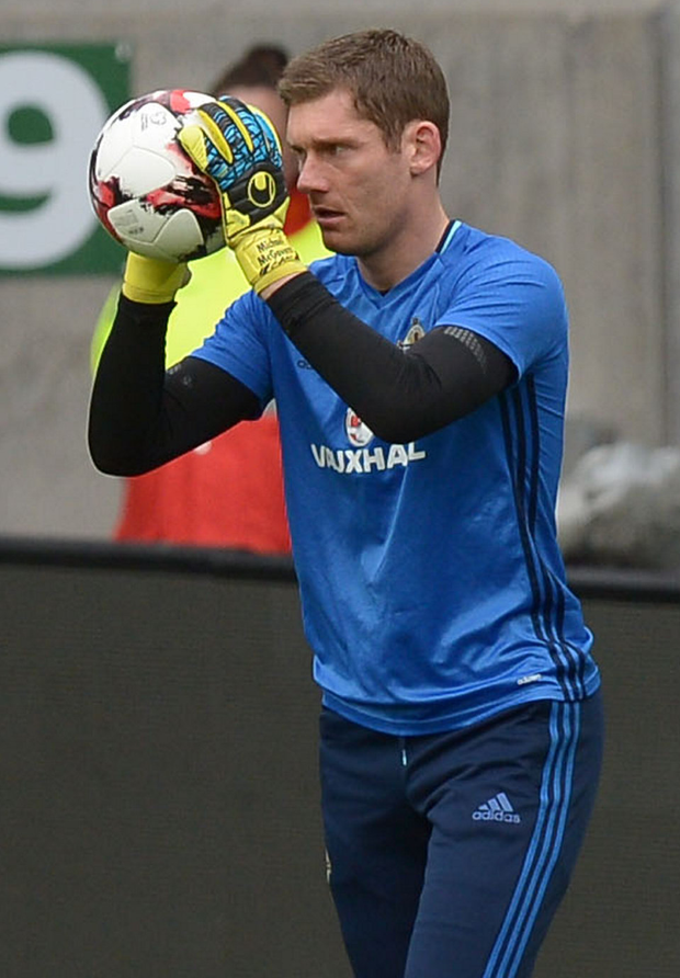Northern Ireland goalkeeper Michael McGovern is put through his paces during training. Photo: Colm Lenaghan/Pacemaker