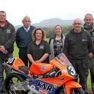 L-R Rodney Shaw (Enniskillen & District MCC Road Racing ltd chairperson), Sean Cox, (Cleenish Community Association chairperson), Fiona Ferris (club secretary), Gillian Conlon (club treasurer), Trevor Kennedy (vice chairperson), Gary McBrien (club member & local resident).