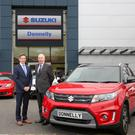 Paul Compton, Site Director at Donnelly Group Boucher Road and Stephen Robinson, National Sales Manager at Suzuki GB PLC at the new Donnelly Suzuki showroom at Boucher Road.