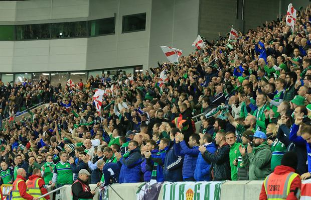 Pacemaker Belfast 5-10-17 Northern Ireland v Germany - World Cup Qualifier Group C Northern Ireland's fans during this evening's game at the National Stadium, Belfast. Photo by David Maginnis/Pacemaker Press