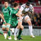 Guinness PRO14, Kingspan Stadium, Belfast 06/10/2017 Ulster vs Connacht Connacht's Tom Farell with Kieran Treadwell of Ulster Mandatory Credit ©INPHO/Dan Sheridan