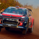 Fighting back: Kris Meeke just three seconds off the lead. Photo: Massimo Bettiol/Getty Images