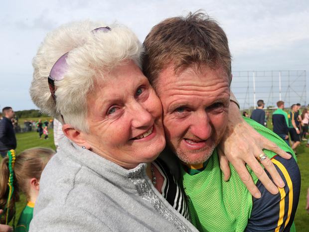 Dunloy manager Gregory O'Kane with his mother Pauline.