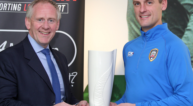 Top boss: Paul McLean presents Coleraine's Oran Kearney with the BetMcLean Manager of the Month award for September