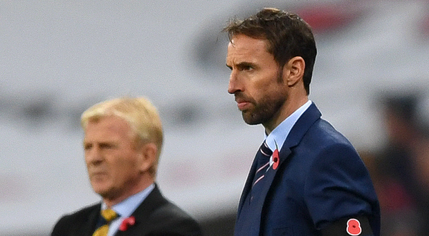 England's Gareth Southgate alongside Gordon Strachan of Scotland