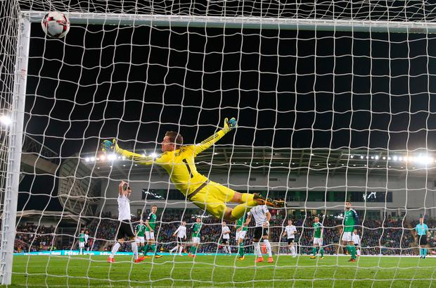 Michael McGovern beaten by the wonder strike from Germany's Sebastian Rudy. Photo: Getty Images
