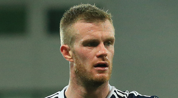 Digging deep: Chris Brunt admitted it was a tough game. Photo: David Maginnis/Pacemaker