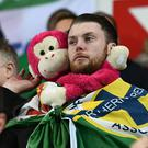 Northern Ireland fans during the game at the Thon Ullevaal Stadion in Oslo. Photo Colm Lenaghan/Pacemaker Press