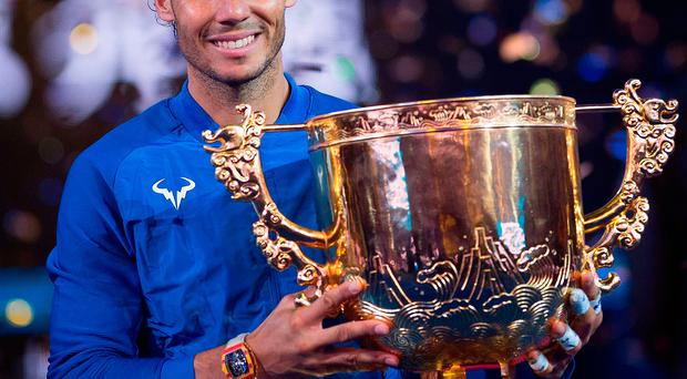 World number one Rafael Nadal demolished Nick Kyrgios to win his sixth title of the season at the China Open