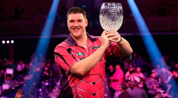 History boy: Daryl Gurney after his dramatic World Grand Prix success