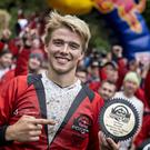 Kelan Grant of Northern Ireland with his trophy after winning the Red Bull Foxhunt in Rostrevor.