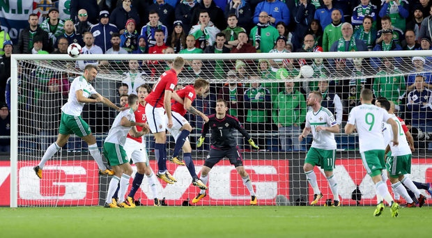 Rising above: Gareth McAuley clears the ball for Northern Ireland against Norway on Sunday
