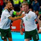 Republic of Ireland's James McClean celebrates scoring the all-important goal.