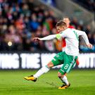 Ton up: Steven Davis will represent Northern Ireland for the 100th time in the first leg of next month's World Cup play-off