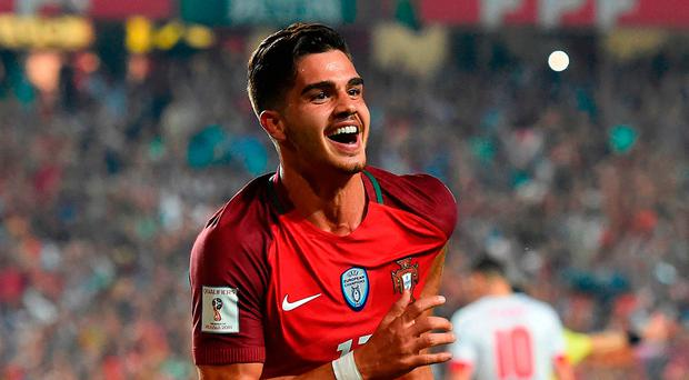 Here we go: Andre Silva after putting Portugal 2-0 ahead
