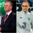 Michael O'Neill (left) and Martin O'Neill (right) are just one step away from leading their sides to the World Cup finals.