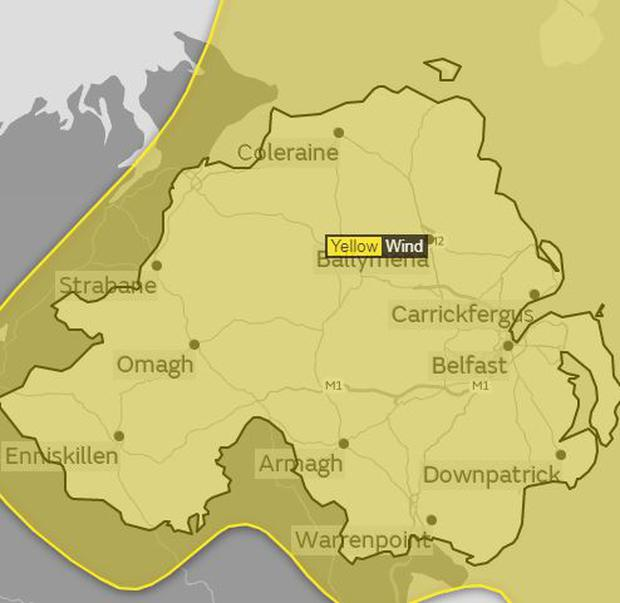 The Met Office has issued a Yellow Warning for the tail end of Hurricane Ophelia which is set to hit Northern Ireland on Monday / Credit: The Met Office