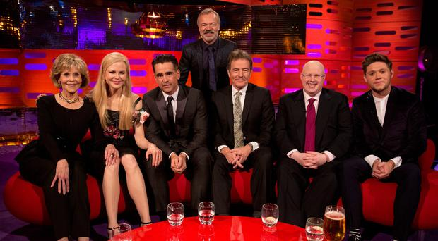 Host Graham Norton with (left to right) Jane Fonda, Nicole Kidman, Colin Farrell, Bryan Cranston, Matt Lucas and Niall Horan during filming of the Graham Norton Show (PA Images on behalf of So TV/PA Wire)