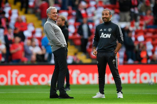 LIVERPOOL, ENGLAND - OCTOBER 14: Jose Mourinho, Manager of Manchester United looks on prior to the Premier League match between Liverpool and Manchester United at Anfield on October 14, 2017 in Liverpool, England. (Photo by Shaun Botterill/Getty Images)