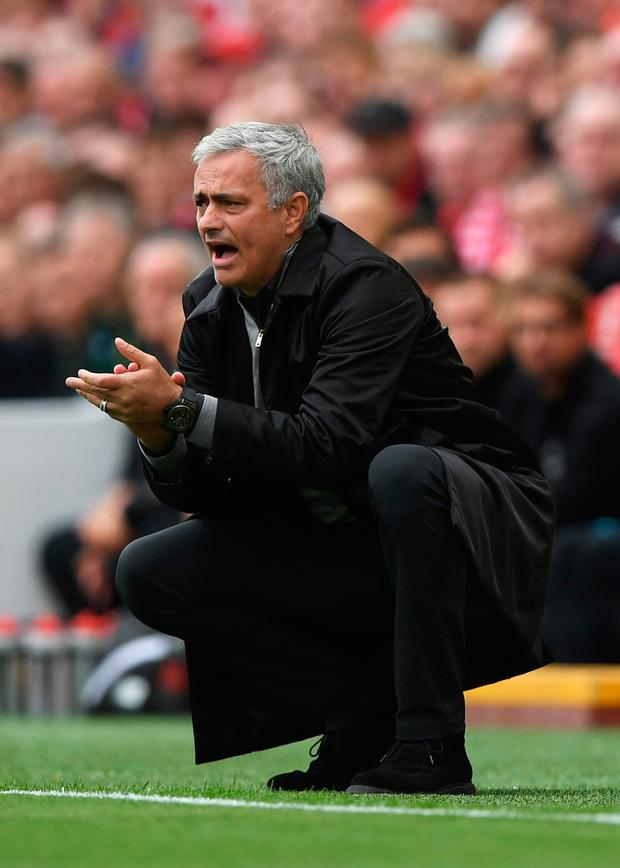 LIVERPOOL, ENGLAND - OCTOBER 14: Jose Mourinho, Manager of Manchester United reacts during the Premier League match between Liverpool and Manchester United at Anfield on October 14, 2017 in Liverpool, England. (Photo by Shaun Botterill/Getty Images)