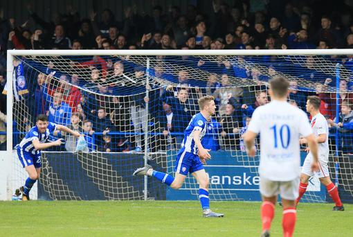 Coleraine's Jamie McGonigle celebrates his goal during the game at Coleraine Showgrounds, Coleraine. Photo by David Maginnis/Pacemaker Press