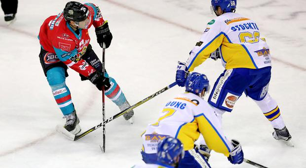 Belfast Giants Jonathan Ferland scoring against the Fife Flyers during Saturday nights Challenge Cup game at the SSE Arena, Belfast. Photo by William Cherry/Presseye