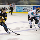 Off the pace: Nottingham Panthers Eric Lindhagen shoots past Belfast Giants Sebastien Sylvester