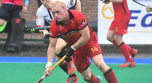Set piece star: Banbridge's Philip Brown hit a penalty corner in the sixth minute for his team