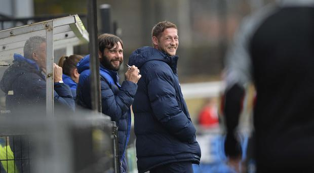 Glenavon's Kris Lindsay (right) was all smiles as his side saw off Crusaders on Saturday. Photo Mark Marlow/Pacemaker Press