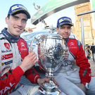 Happy memories: Craig Breen is joined by co-driver Scott Martin after winning the Circuit of Ireland Rally last year