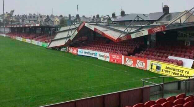 The collapsed stand