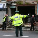 PACEMAKER BELFAST 16/10/2017 A Building collapses on the Albertbridge Road in East Belfast as Storm Ophelia hits across Northern Ireland on Monday, The Met Office has an amber warning for very windy weather in place from midday through to midnight on Monday, affecting all parts of the region. All schools have been closed for the day while QueenÕs University has cancelled classes. Photo Colm Lenaghan/Pacemaker Press